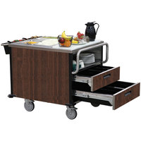 Lakeside 6755 SuzyQ Walnut Dining Room Meal Serving System with Two Heated Wells - 208V