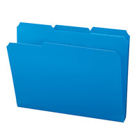 Smead 10503 Waterproof Poly Letter Size File Folder - Standard Height with 1/3 Cut Assorted Tab, Blue - 24/Box
