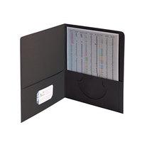 Smead 87853 Letter Size Heavyweight Textured 2-Pocket Paper Pocket Folder, Black - 25/Box