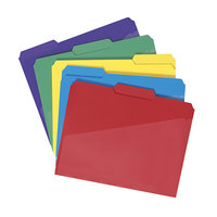 Smead 10540 Waterproof Poly Letter Size File Folder with Slash Pocket - Standard Height with 1/3 Cut Assorted Tab, Assorted Color - 30/Box