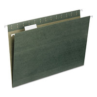 Smead 64155 8 1/2 inch x 14 inch Green 1/5 Tab Hanging File Folder - Legal - 25/Box