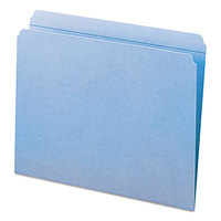 Smead 12010 Letter Size File Folder - Standard Height with Reinforced Straight Cut Tab, Blue - 100/Box