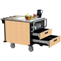Lakeside 6755 SuzyQ Hard Rock Maple Dining Room Meal Serving System with Two Heated Wells - 208V