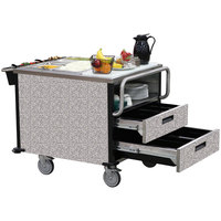 Lakeside 6755 SuzyQ Gray Sand Dining Room Meal Serving System with Two Heated Wells - 208V