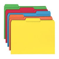 Smead 11993 Letter Size File Folder - Standard Height with Reinforced 1/3 Cut Assorted Tab, Assorted Color - 100/Box