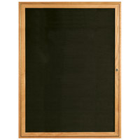 Aarco ODC4836 48 inch x 36 inch Enclosed Hinged Locking 1 Door Black Felt Message Board with Natural Oak Frame