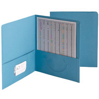 Smead 87852 Letter Size Heavyweight Textured 2-Pocket Paper Pocket Folder, Blue - 25/Box