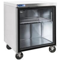 Nor-Lake NLURG27A-015 AdvantEDGE 27 1/2 inch Undercounter Refrigerator with Door Lock and Glass Door