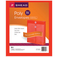 Smead 89547 Letter Size Top Load Poly Envelope - 1 1/4 inch Expansion with String Tie Closure, Red - 5/Pack