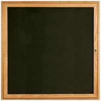 Aarco ODC3636 36 inch x 36 inch Enclosed Hinged Locking 1 Door Black Felt Message Board with Natural Oak Frame