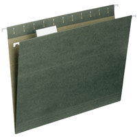 Smead 64055 9 1/4 inch x 11 3/4 inch Green 1/5 Cut Top Tab 11 Pt. Stock Hanging File Folder - Letter - 25/Box