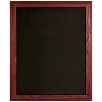Aarco CDC3630 36 inch x 30 inch Enclosed Indoor Hinged Locking 1 Door Black Felt Message Board with Cherry Frame