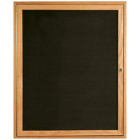 Aarco ODC3630 36 inch x 30 inch Enclosed Hinged Locking 1 Door Black Felt Message Board with Natural Oak Frame