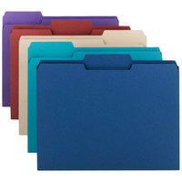 Smead 11948 Letter Size File Folder - Standard Height with 1/3 Cut Assorted Tab, Assorted Colors - 100/Box