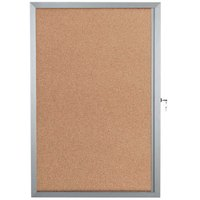 Aarco EBC3624 36 inch x 24 inch Enclosed Hinged Locking 1 Door Bulletin Board with Aluminum Frame