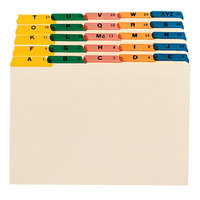 Smead 52180 8 1/2 inch x 14 inch Manila / Assorted Color 1/5 Cut Top Tab Alphabetical File Guide - Legal - 25/Set