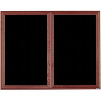 Aarco CDC4860 48 inch x 60 inch Enclosed Indoor Hinged Locking 2 Door Black Felt Message Board with Cherry Frame