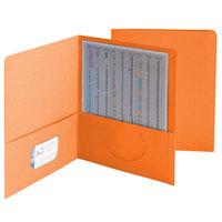 Smead 87858 Letter Size Heavyweight Textured 2-Pocket Paper Pocket Folder, Orange - 25/Box