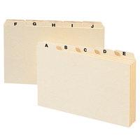 Smead 57076 8 inch x 5 inch Manila 1/5 Cut Self-Tab Alphabetical Card Guide - 25/Set