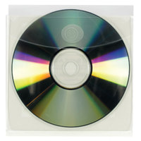 Smead 68144 5 inch Self-Adhesive CD/DVD Sleeve, Clear - 10/Pack