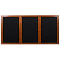 Aarco CDC3672-3 36 inch x 72 inch Enclosed Indoor Hinged Locking 3 Door Black Felt Message Board with Cherry Frame