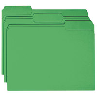 Smead 12143 Letter Size File Folder - Standard Height with 1/3 Cut Assorted Tab, Green - 100/Box