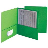 Smead 87855 Letter Size Heavyweight Textured 2-Pocket Paper Pocket Folder, Green - 25/Box