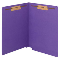 Smead 25550 WaterShed/CutLess Letter Size Fastener Folder with 2 Fasteners - Reinforced Straight Cut End Tab, Purple - 50/Box