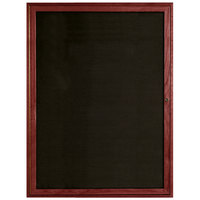 Aarco CDC4836 48 inch x 36 inch Enclosed Indoor Hinged Locking 1 Door Black Felt Message Board with Cherry Frame