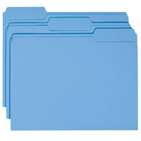 Smead 12043 Letter Size File Folder - Standard Height with 1/3 Cut Assorted Tab, Blue - 100/Box