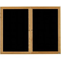 Aarco ODC4860 48 inch x 60 inch Enclosed Hinged Locking 2 Door Black Felt Message Board with Natural Oak Frame