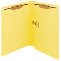 Smead 25940 Shelf-Master Letter Size Fastener Folder with 2 Fasteners - Straight Cut End Tab, Yellow - 50/Box