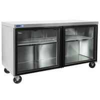Nor-Lake NLURG60A-014 AdvantEDGE 60 inch Undercounter Refrigerator with Low Profile Casters and Glass Doors