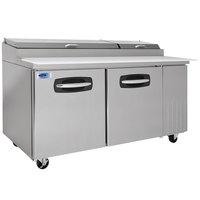Nor-Lake NLPT67 AdvantEDGE 67 inch 2 Door Refrigerated Pizza Prep Table