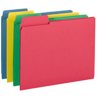 Smead 11905 3-in-1 SuperTab Letter Size File Folder with 3 Interior Pockets - Guide Height with 1/3 Cut Left Tab, Assorted Colors - 12/Pack