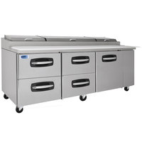Nor-Lake NLPT93-007 AdvantEDGE 93 3/8 inch 1 Door 4 Drawer Refrigerated Pizza Prep Table