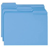 Smead 12034 Letter Size File Folder - Standard Height with Reinforced 1/3 Cut Assorted Tab, Blue - 100/Box