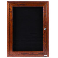 Aarco CDC2418 24 inch x 18 inch Enclosed Indoor Hinged Locking 1 Door Black Felt Message Board with Cherry Frame
