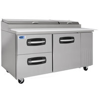 Nor-Lake NLPT67-003 AdvantEDGE 67 inch 1 Door 2 Drawer Refrigerated Pizza Prep Table