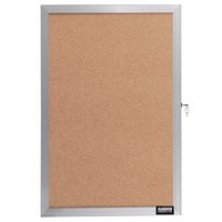 Aarco EBC1812 18 inch x 12 inch Enclosed Hinged Locking 1 Door Bulletin Board with Aluminum Frame