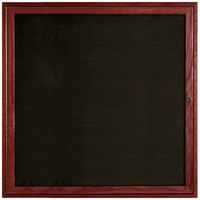 Aarco CDC3636 36 inch x 36 inch Enclosed Indoor Hinged Locking 1 Door Black Felt Message Board with Cherry Frame