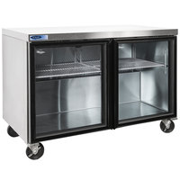 Nor-Lake NLURG48A-014 AdvantEDGE 48 inch Undercounter Refrigerator with Low Profile Casters and Glass Doors