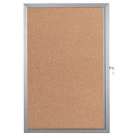 Aarco EBC2418 24 inch x 18 inch Enclosed Hinged Locking 1 Door Bulletin Board with Aluminum Frame
