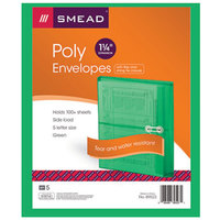 Smead 89523 Letter Size Side Load Poly Envelope - 1 1/4 inch Expansion with String Tie Closure, Green - 5/Pack