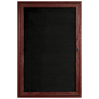 Aarco CDC3624 36 inch x 24 inch Enclosed Indoor Hinged Locking 1 Door Black Felt Message Board with Cherry Frame