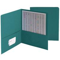 Smead 87867 Letter Size Heavyweight Textured 2-Pocket Paper Pocket Folder, Teal - 25/Box