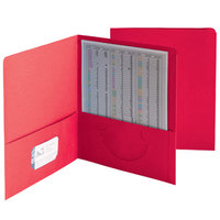 Smead 87859 Letter Size Heavyweight Textured 2-Pocket Paper Pocket Folder, Red - 25/Box