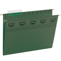 Smead 64036 Tuff 9 1/4 inch x 11 3/4 inch Green Sliding Tab 11 Pt. Stock Hanging File Folder - Letter - 20/Box