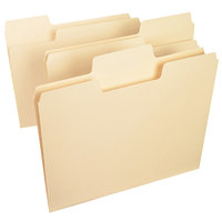 Smead 10401 SuperTab Heavyweight Letter Size File Folder - Standard Height with 1/3 Cut Assorted Tab, Manila - 50/Box