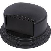 Carlisle 34105703 Bronco 44 - 55 Gallon Black Dome Trash Can Lid with Hinged Door